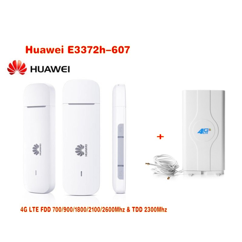 Unlocked New Arrival Huawei E3372 E3372h-607 USB 4G LTE 150Mbps 4G LTE USB Dongle plus with 4G 49Dbi CRC9 MIMO antenna 150mbps fdd unlocked huawei e3372h 153 3g 4g lte usb dongle 4g crc9 35dbi antenna