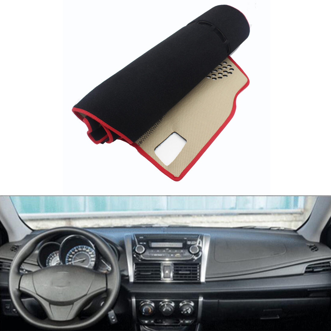 Fit For Toyota Vios 2014-2016 Car Dashboard Avoid Light Pad Instrument Platform Desk Cover Mat Silicone Non-skid Back Surface