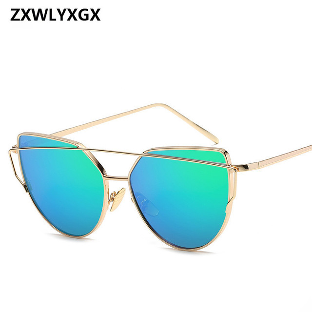 2018 Sunglasses Women Luxury Cat eye Brand Design Mirror  Rose New Gold Vintage Cateye Fashion sun glasses lady Eyewear  5