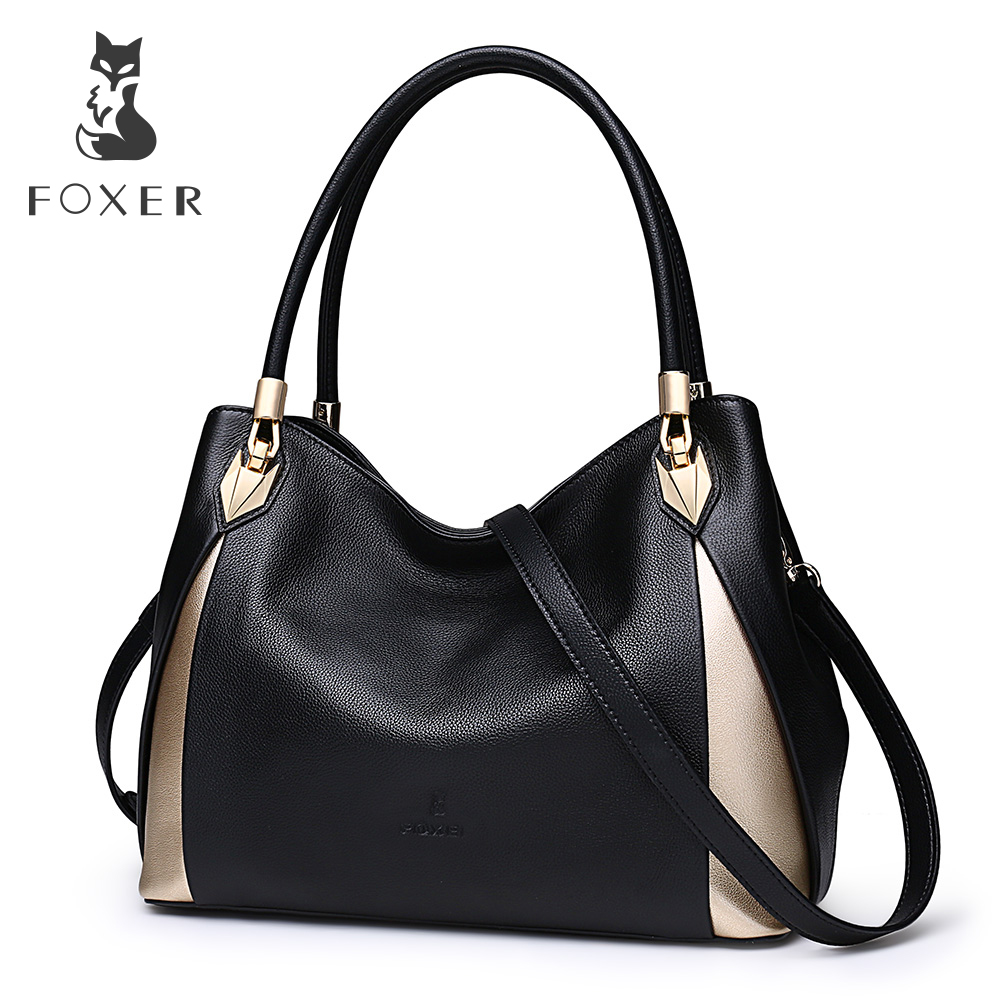 FOXER Brand Soft Women Genuine Leather Shoulder Bag Solid Multi Color Female Handbag With Free Shipping fashion women handbags genuine leather shoulder bag solid multi color female handbag with free shipping