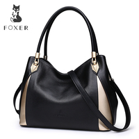 FOXER Brand Soft Women Genuine Leather Shoulder Bag Solid Multi Color Female Handbag With Free Shipping