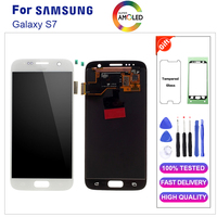 Amoled For SAMSUNG GALAXY S7 G930A G930F SM G930F LCD Display Touch Screen Digitizer Assembly Replacement with burn shadow