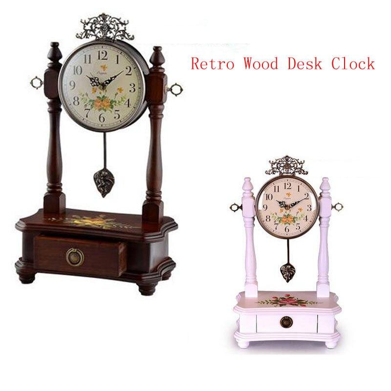 Retro Wood Desk Clock For Wedding Gift Vintage Home Decormute