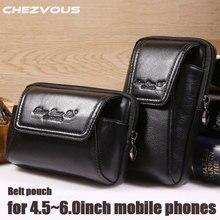 Funda para cinturón de teléfono inteligente, funda Vintage de cuero genuino para Iphone 6, 6s, 7 Plus, 5s, 4, bolsa para cinturón, monedero, riñonera para teléfonos de 4,5 ~ 6,0
