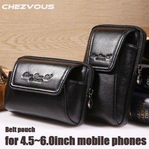 Image 1 - Smartphone pochette de ceinture en cuir véritable étui Vintage pour Iphone 6 6s 7 Plus 5s 4 pochette de ceinture sac à main sac de taille pour 4.5 ~ 6.0 téléphones