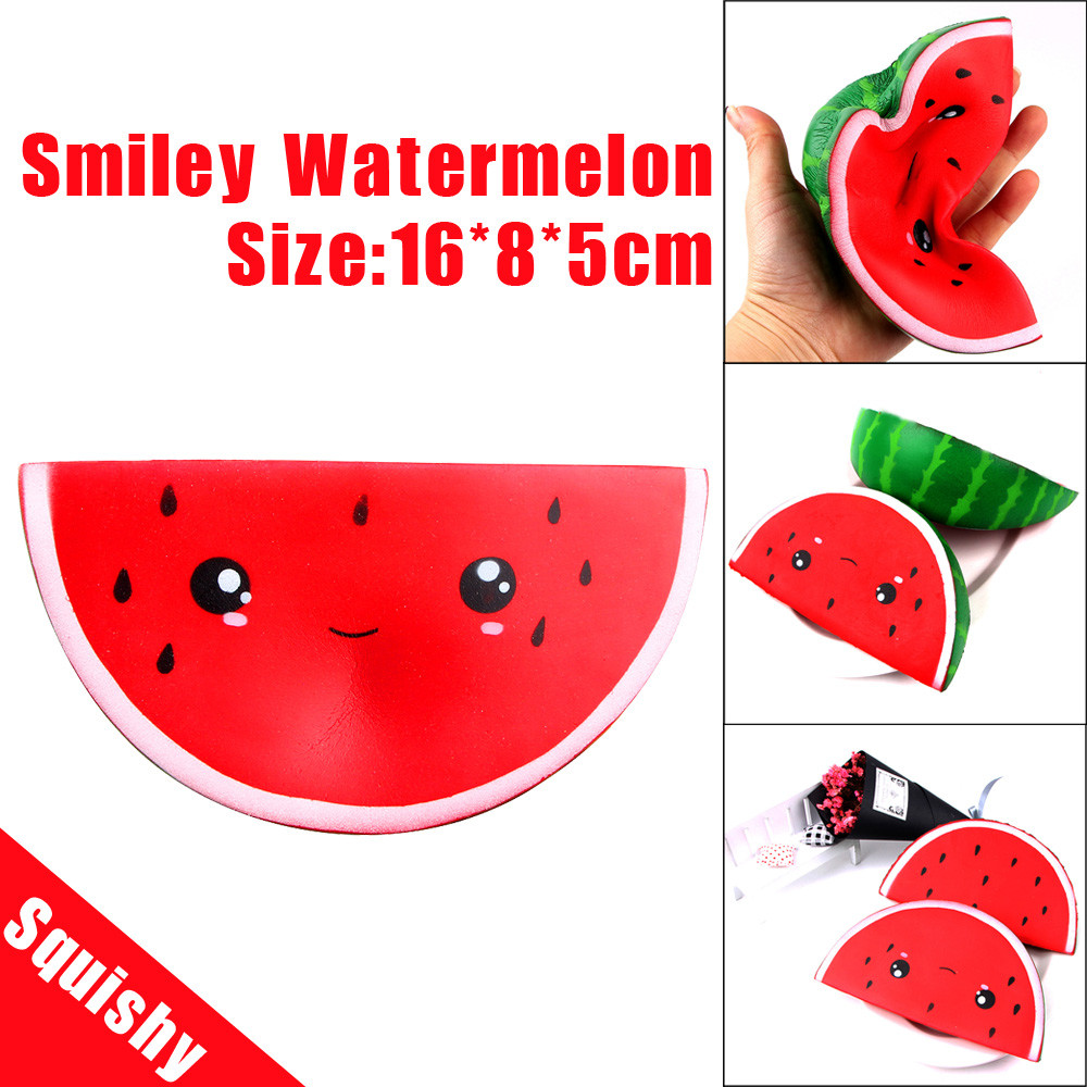 surprise Cartoon Squishy Cute Smiley Watermelon Cream Scented Squishy Slow Rising Squeeze Strap Kids Toy Fun for children
