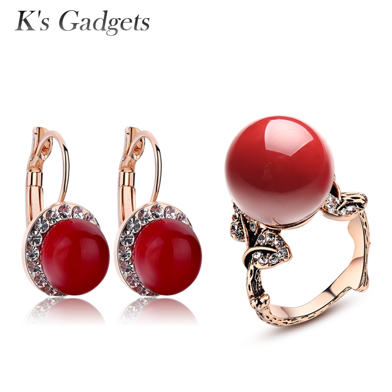 Red Earrings Ring Jewelry Set Rose Gold color Luxury Crystal Cubic Zirconia Imitation Coral Bridal Jewelry Sets
