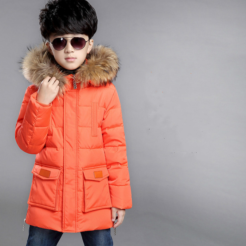 Cross-border Trade Children Feather Boy Clothes In Winter Jacket Boy In The Long Section of The New Korean Thick Coat цена