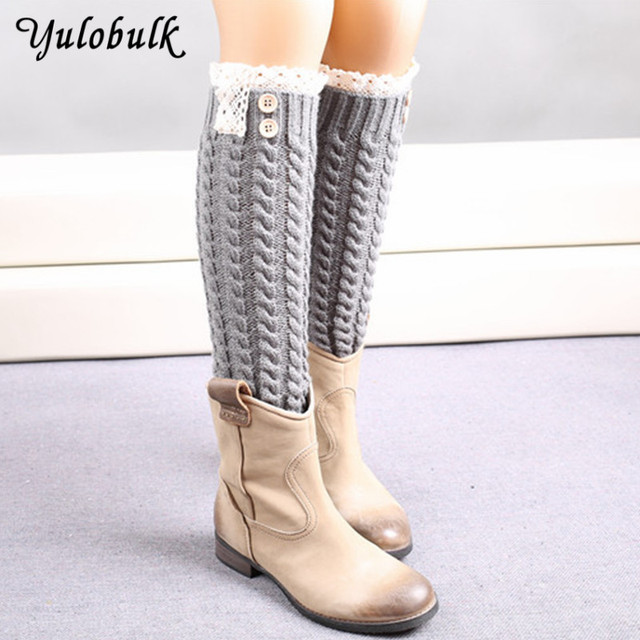 62d95b24d18 7 Colors Women Lace Boot Socks Button Twist Leg Warmers Knee High Boot Cuff  Ladies Solid Warm Boot Covers Gaiters Fall Fashion