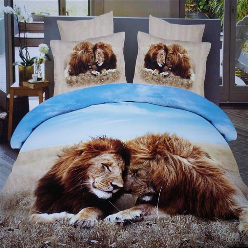 Us 7488 22 Offmale Lion 3d Animal Print Queen Size Bedding Sets 100 Cotton Bedroom Set 4pcs Include Duvet Cover Bed Sheet Pillowcase In Bedding