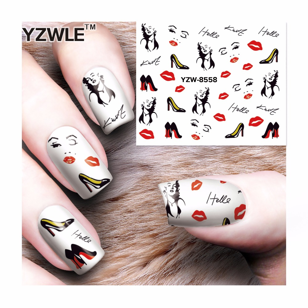 Water sticker for nail art decoration slider skull Marilyn Monroe ...