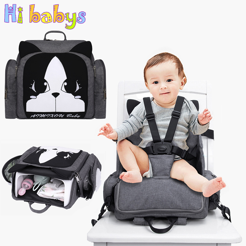 Fashion Maternity Nappy Bag Baby Care Feeding Chair Mom Backpack Large Capacity Baby Diaper Bags Dry