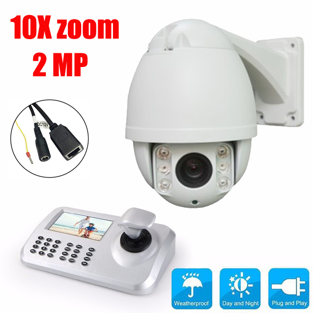 10x Optical Zoom HD 1080P 2MP high Speed dome Camera CCTV PTZ 50m IR security IP Camera Outdoor + Keyboard Controller onvif hd 2 0mp 20x optical zoom 100m ir distance 1080p ptz cctv wired camera speed dome camera with auto wiper