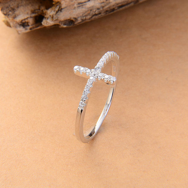 Trend Sideways Cross silver plated rings Fashion Jewelry free shipping rose gold plated crystal vintage wedding ring for women
