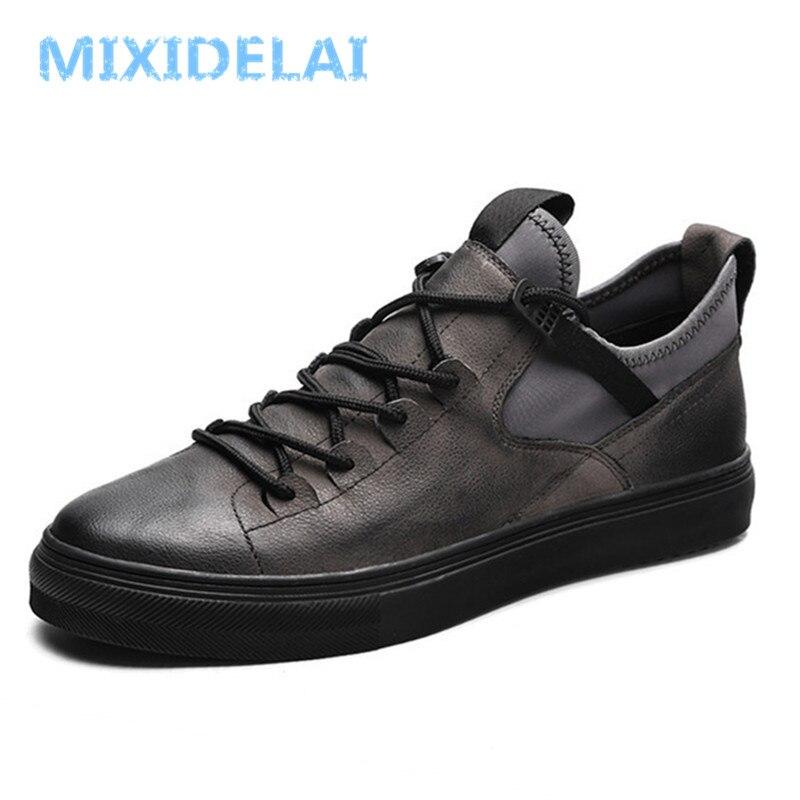Mixidelai couro genuíno de primeira classe de couro de vaca tênis masculinos sapatos casuais moda masculina rendas até apartamentos respirável sapatos pretos