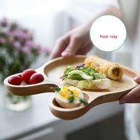 Wooden Tray for Kitchen Table Dinner Plate Cartoon Rabbit Dessert Tray Bunny Face Pattern Snack Drink Platter LZP07