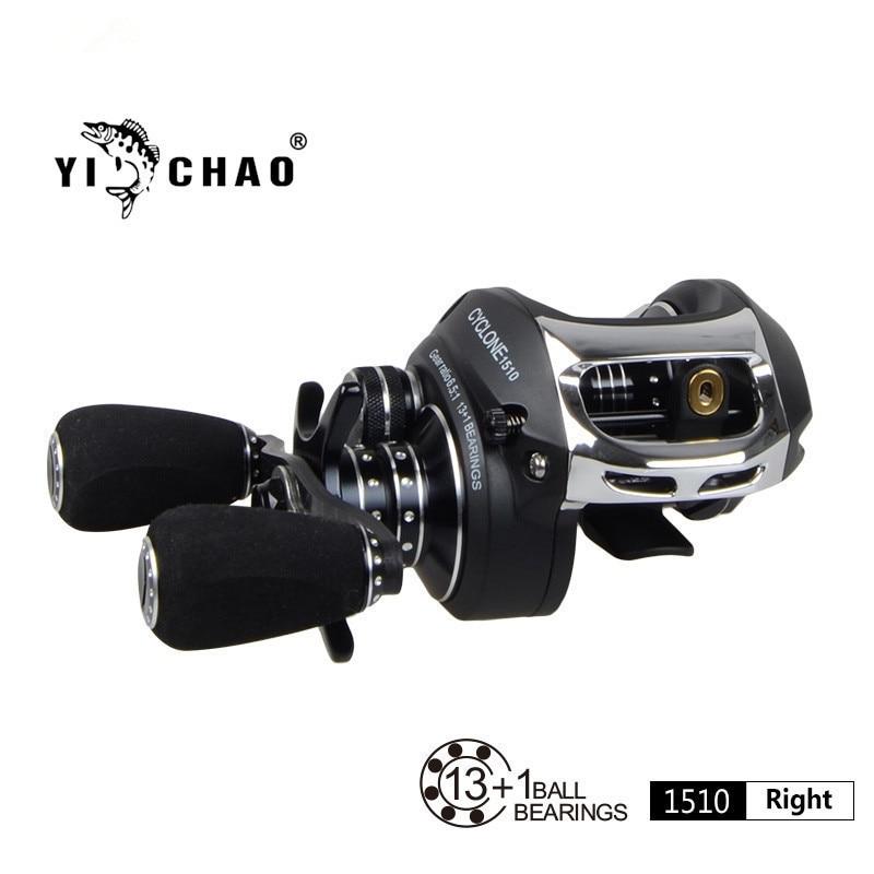 ФОТО YICHAO Baitcasting reel fishing reels bait casting reel saltwater handle Left Right water drop wheel Double Break 13+1BB 6.5:1