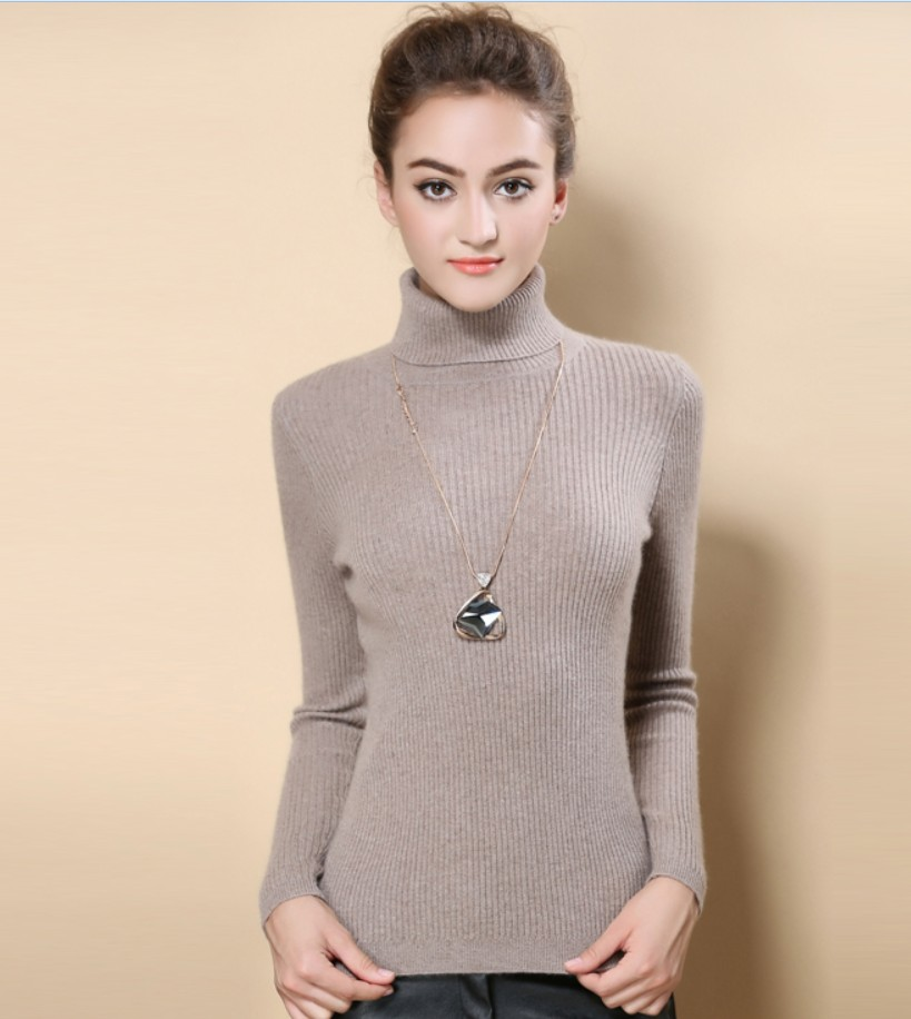 New Turtleneck Women Pullover Cashmere Sweater High Elasticity Knitted Ribbed Slim Jumper Autumn Winter Basic Female Sweater