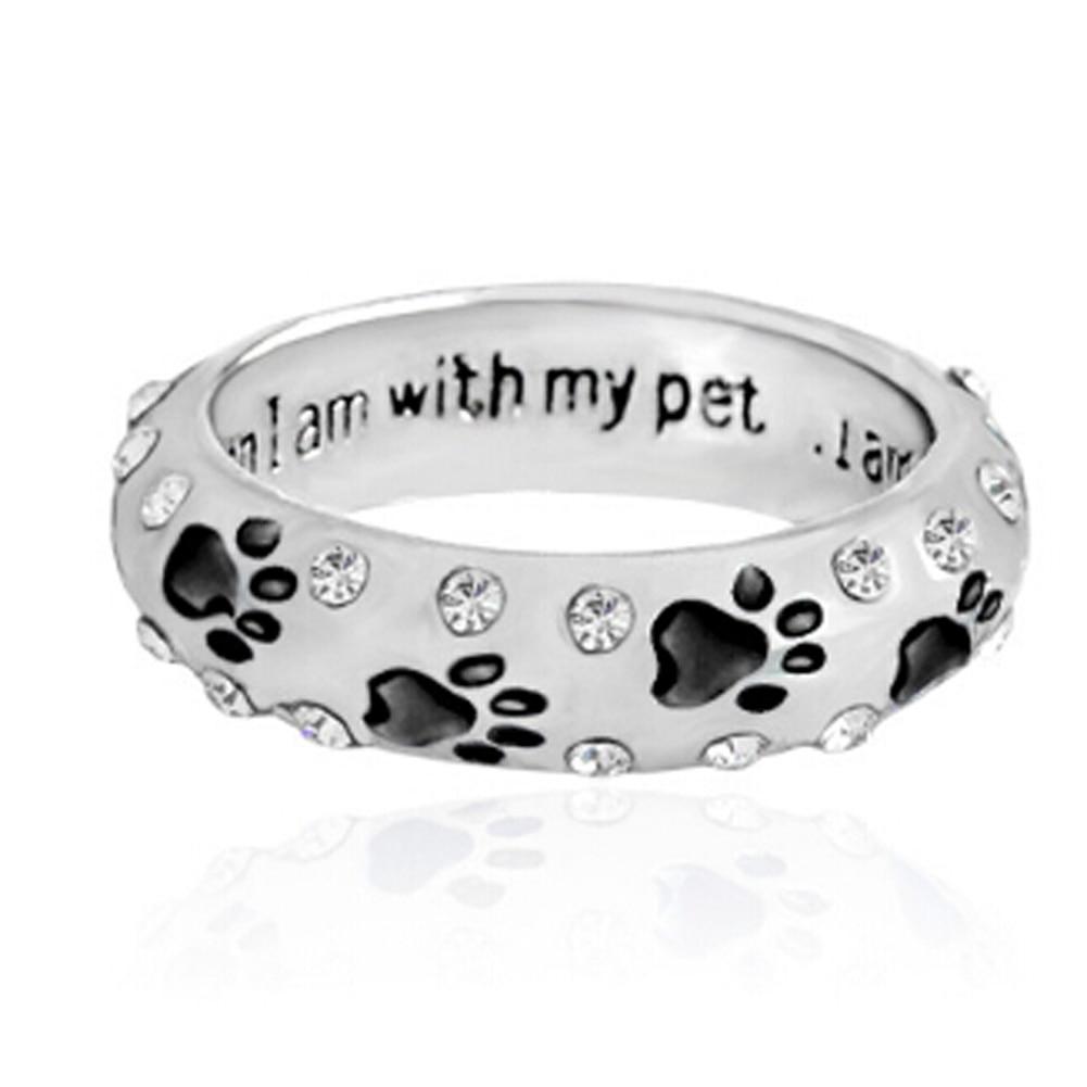 1 Pc Haustier Hund Klaue Strass Ring Für Frauen, Wenn Ich Mit Meinem Pet Tier Pet Ring Hund Pfote Fußabdrücke Ring Schmuck Freeshipping HeißEr Verkauf 50-70% Rabatt