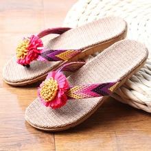 купить Summer Women Linen Slippers Flower Ribbon Sandals Flat Eva Non-slip Linen Slides Home Flip Flop Health Straw Lady Beach Shoe дешево