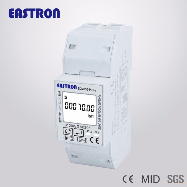 SDM230 Pulse, 230V 10(100)A, single phase energy meter, 2 pulse putputs, Bi-directional measurement for solar PV system