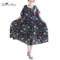 BelineRosa 2018 Big Sizes Women Clothing Vintage Style Floral Printing Short Sleeve High Waist Cotton Linen