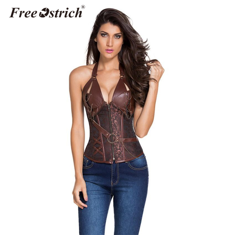 Free Ostrich Steampunk   Corset   Gothic Sleeveless Halter Leather Sexy   Bustiers   Push Up   Corsets   Body Shaper   Bustier   Plus Size No14