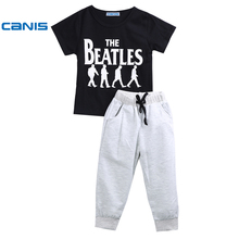 CANIS 2017 Lovely Kids child boy garments Casual Short Sleeve Cotton T-shirt+Pants 1-6Years