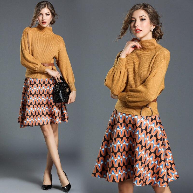 Automne porter à manches longues manches chauve-souris pulls pull tricot tissu impression jupe deux pièces vêtements ensemble de mode costume femmes