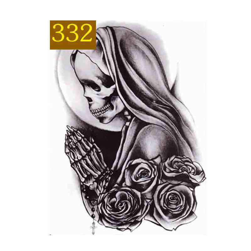 MANZILIN 5pcs/set Halloween Skull Rose Flowers Designs Waterproof 15*22cm Temporary Tattoos Large Arm Leg Fake Tattoo T331-335