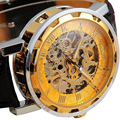 Excellent Quality Brand New Men's Mechanical Watches Dial Skeleton Sport Army Watches Leather Steampunk Relogio for Gift