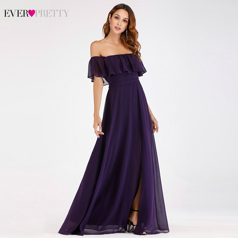 Purple Evening Dresses Ever Pretty EP07679 Sexy Off shoulder A line Long Party Gowns with Ruffles