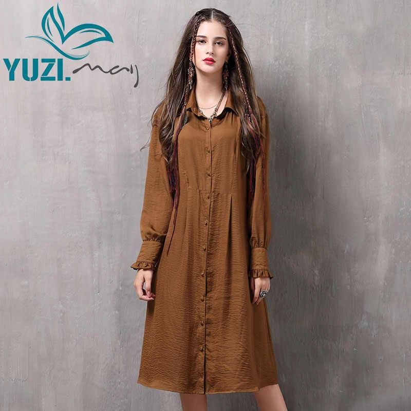 סתיו נשים שמלה 2017 Yuzi. may Boho החדש Vestidos Visvose כותנה תורו למטה צווארון השרוול הארוך יחיד חזה שמלות A82065