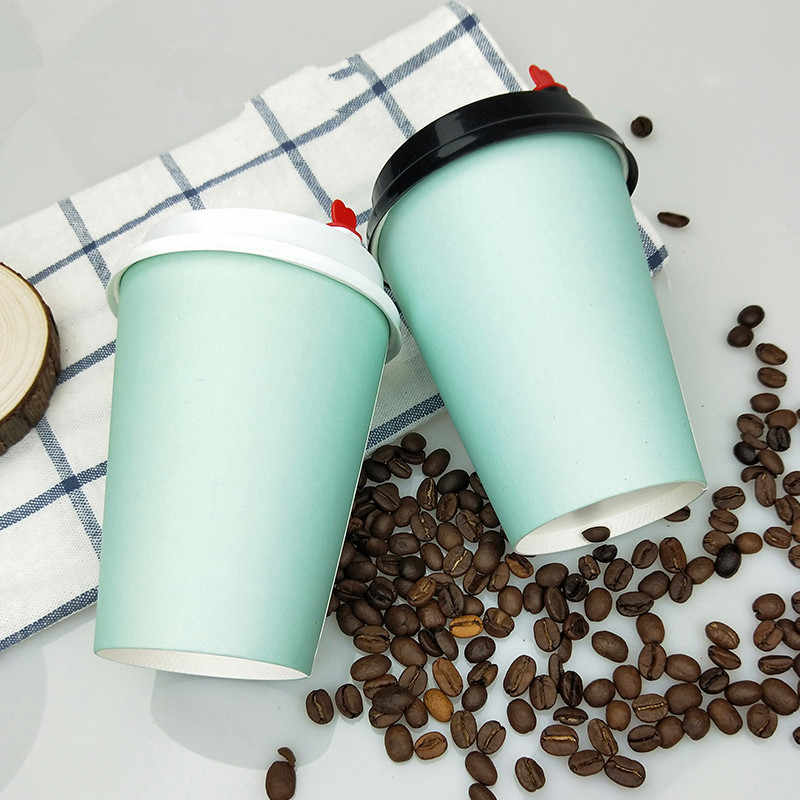 50pcs Blue thick paper cup disposable coffee cup milk tea hot drink beverage takeaway packaging cups with lids