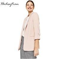 Hodisytian Spring 2019 Fashion Blazer For Women Solid Long Sleeve Casual Suits Jacket Coat Blazer Outerwear Tops Female Blaser