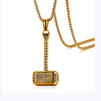Thor's Hammer Necklace Gold Color Stainless Steel Pendant Necklace Mens Jewelry Accessories Factory Wholesale
