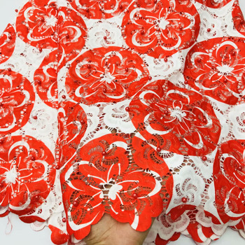 Super Hot Red Color Milk Fiber Lace Fabric 5 Yards High Quality Water Soluble Lace Fabric With Beads For Clothes Sewing Material