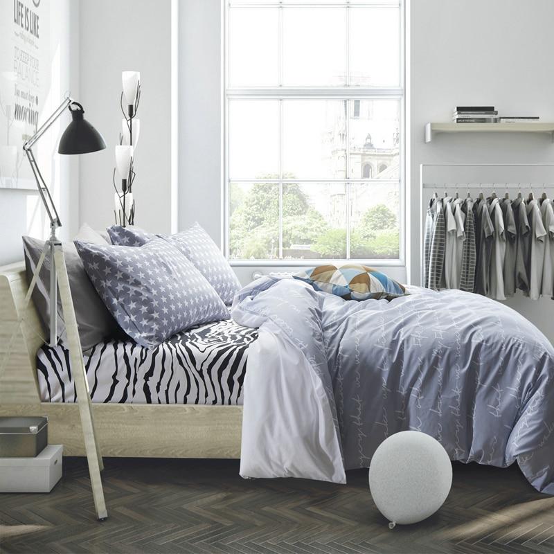 100 cotton white letter bedding set zebra bed sheet gray duvet cover comforter sets twin queen. Black Bedroom Furniture Sets. Home Design Ideas