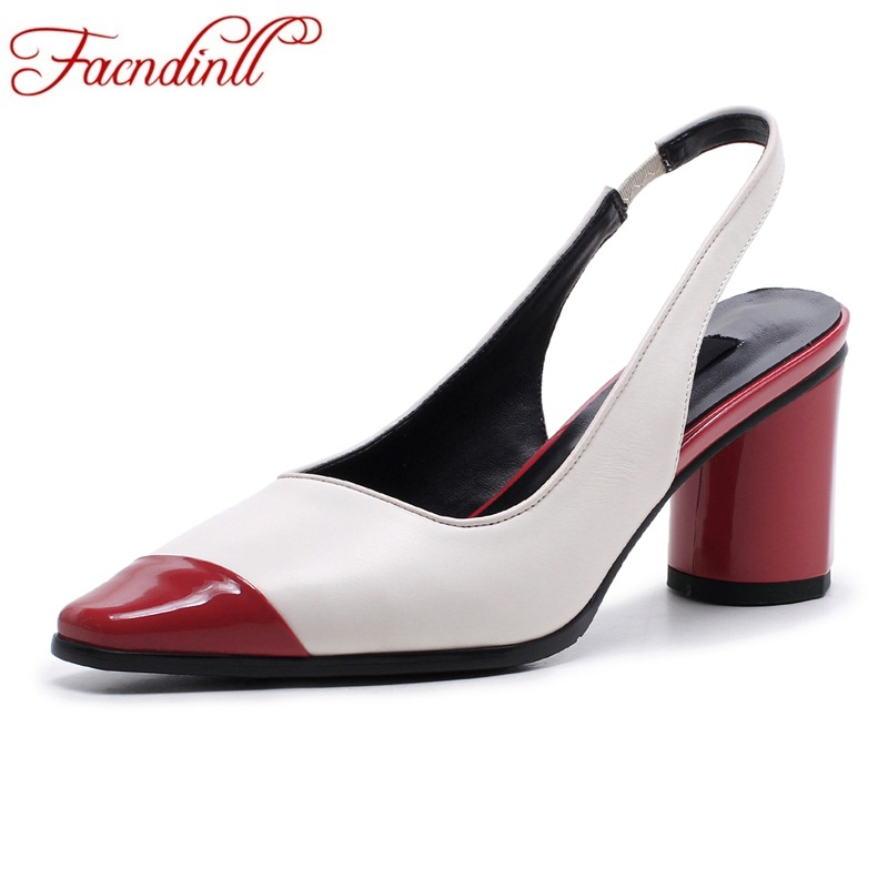 FACNDINLL brand women pumps new 2018 summer fashion high heels round toe shoes woman gladiator dress party pumps genuine leather facndinll shoes 2018 new fashion summer