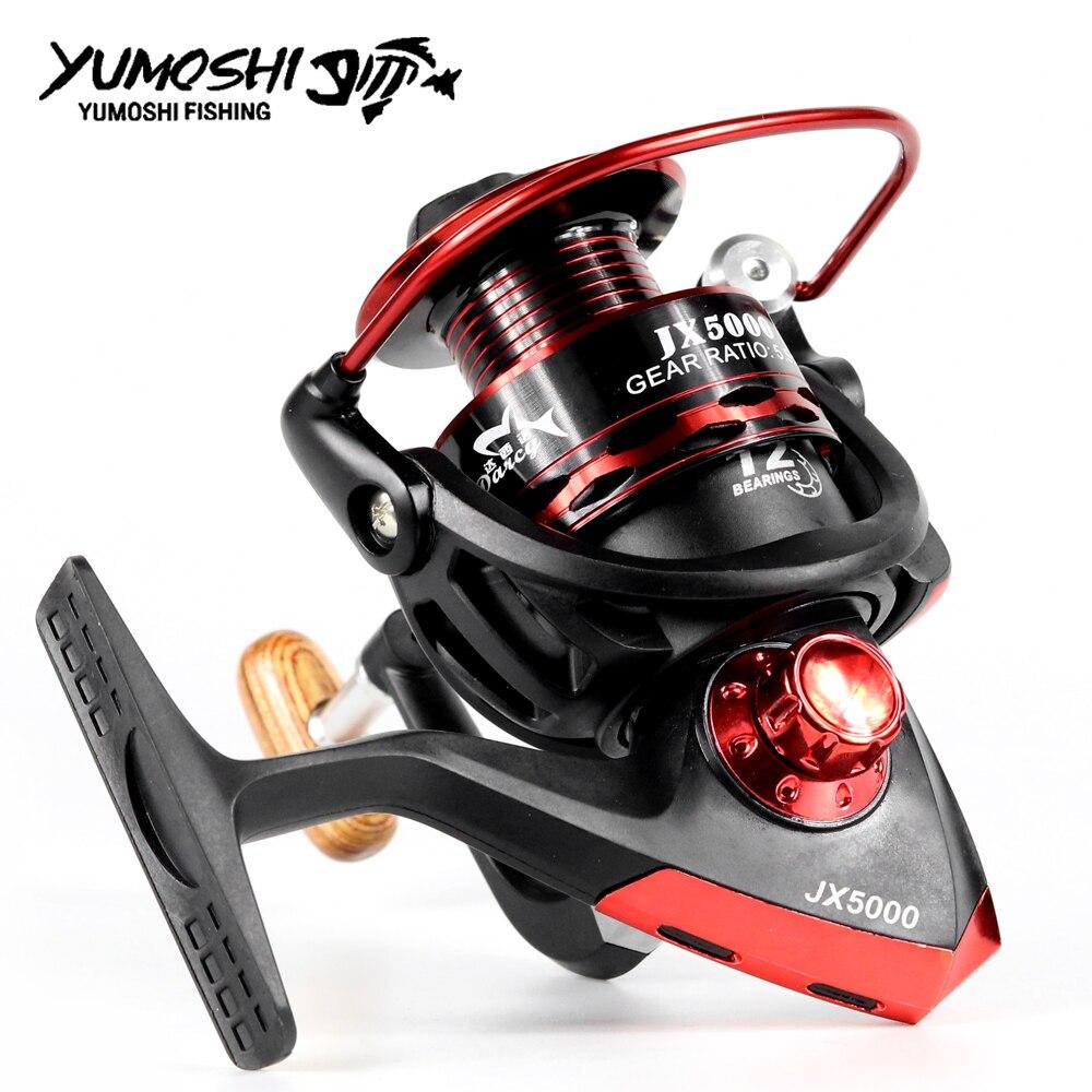 Yumoshi New Spinning Fishing Reel Metal Coil 12 Ball Bearing JX1000-7000 Series 5.5:1 Spinning Reel Boat Rock Fishing Wheel Reel