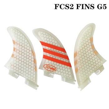Surf FCS2 nuevo estilo G5 aletas de color blanco/azul/rojo/verde tabla de Surf FCSII aletas panal Fibreglass aleta Tri set