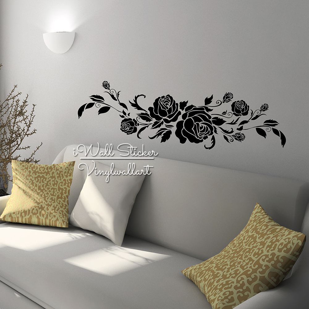 Rose flower wall sticker rose wall decal diy modern for Rose home decorations