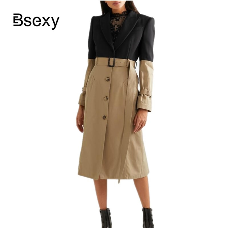 Spring Trench Coat For Women 2019 Elegant Faux 2 Pieces Office Lady Dress Coat Single Breasted
