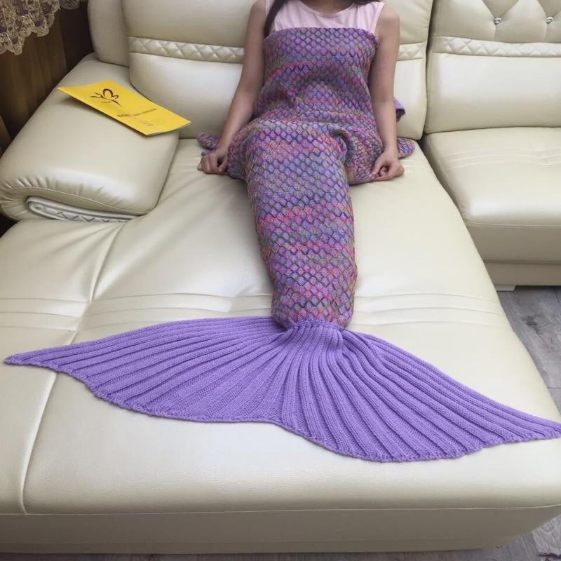 ФОТО Mermaid Blanket Wool Knit Grid Crochet Sofa Cover Blanket Super Soft Sofa Air - Conditioned Knitted Mermaid Tail Blanket