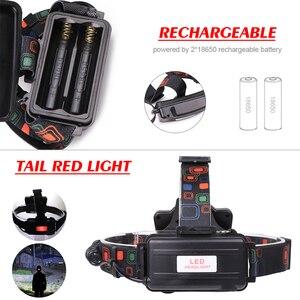 Image 5 - Мощный светодиодный налобный фонарь T6 COB, светодиодный головной фонарь, водонепроницаемый Головной фонарь с USB, Головной фонарь с 4 режимами и батареей 18650