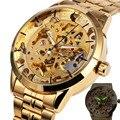 VENCEDOR Luxo Skeleton Retro Vestido Mecânico Automático dos homens Relógio de Pulso Relógios Homem Cinta Marca de Topo de Metal Ouro Caso + PRESENTE CAIXA