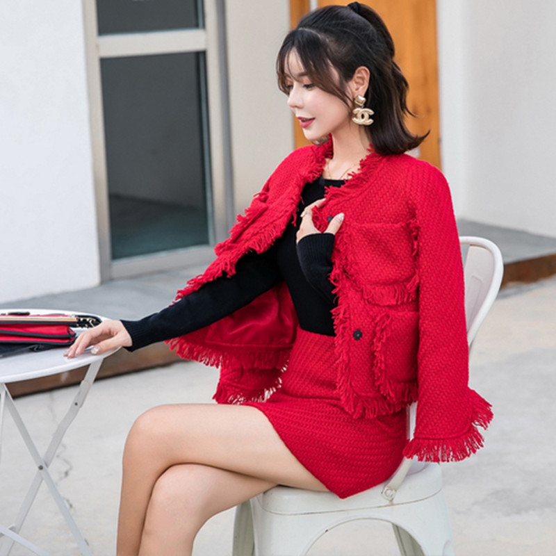 High Quality 2019 Autumn Winter New Elegant Red Burr Set Tweed Jacket + High Waist Pack Hip Skirt Ladies Fashion Two Piece Suit
