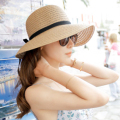 Free Shipping beach sun-shading straw hat folding women's summer hat large brim sun hat beach hat 2 colors for choice