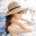 O Envio gratuito de praia sol-shading chapéu de palha dobrável chapéu grande sol aba do chapéu de praia chapéu do verão das mulheres 2 cores para a escolha