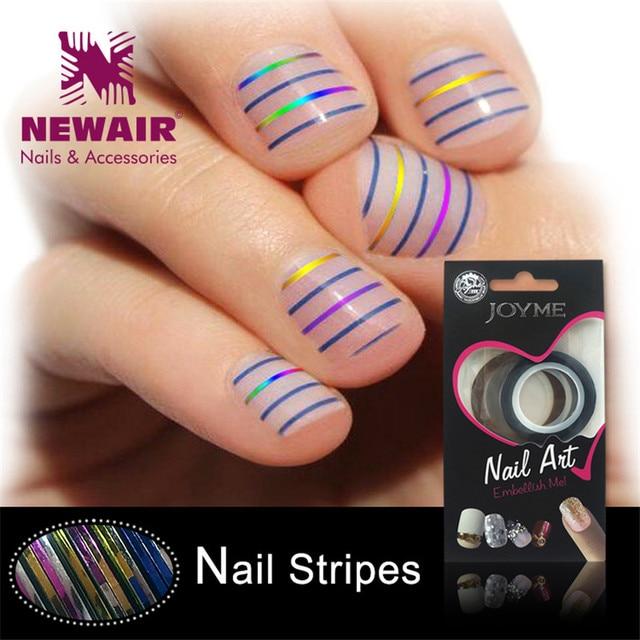 Metallic Gold Silver Nail Stripes 3PCS/Set Blue Rose Tape Line ...
